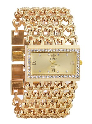 cheap Quartz Watches-Women's Bracelet Watch Diamond Watch Gold Watch Quartz Ladies Calendar / date / day Silver / Gold Analog - Gold Silver One Year Battery Life / Chronograph / Hollow Engraving