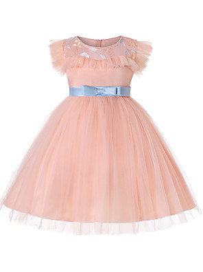 cheap Girls' Dresses-Kids Girls' Active Sweet Party Holiday Solid Colored Short Sleeve Knee-length Dress Blushing Pink