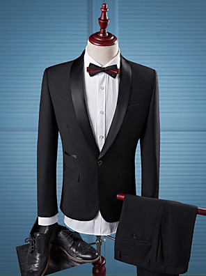 cheap Custom Tuxedo-Solid Colored Tailored Fit Polyester Suit - Shawl Collar Single Breasted One-button / Suits