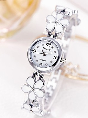cheap Quartz Watches-Women's Bracelet Watch Quartz Stainless Steel Silver / Gold Casual Watch Analog Ladies Flower Casual - Golden Silver