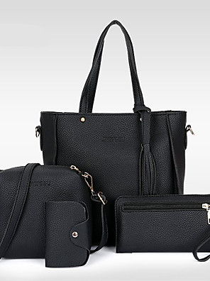 cheap Quartz Watches-Women's Tassel PU Bag Set Bag Sets 4 Pieces Purse Set Black / Red / Blushing Pink
