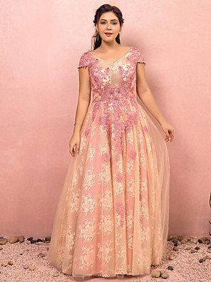 cheap Plus Size Dresses-A-Line Floral Pink Prom Formal Evening Dress V Neck Short Sleeve Floor Length Lace Satin Tulle with Appliques 2020