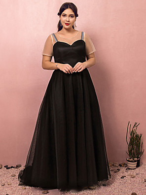 cheap Plus Size Dresses-A-Line Plus Size Black Engagement Formal Evening Dress Jewel Neck Short Sleeve Court Train Satin Tulle with Pleats 2020 / Illusion Sleeve