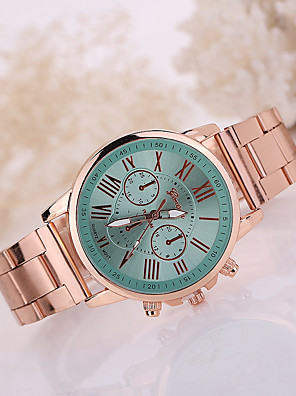 cheap Watches-Women's Wrist Watch Quartz Stainless Steel Rose Gold Casual Watch Analog Casual Fashion - Pink Light Green Fruit Green One Year Battery Life
