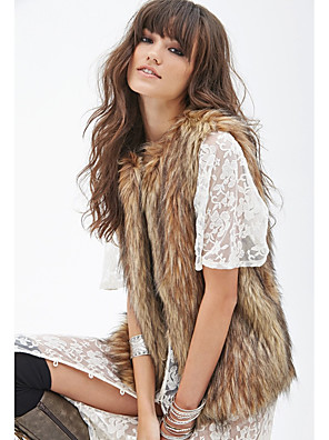 cheap Wedding Wraps-Sleeveless Vests Faux Fur Wedding / Party / Evening Women's Wrap With Solid