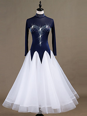 cheap Ballroom Dancewear-Ballroom Dance Dress Split Joint Crystals / Rhinestones Women's Performance Long Sleeve Spandex Organza