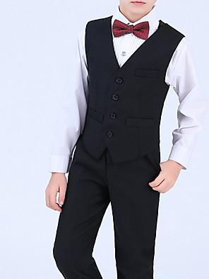 povoljno Kompletići za dječake-Djeca Dječaci Aktivan Jednobojni Dugih rukava Normalne dužine Komplet odjeće Crn