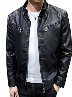 cheap Men's Jackets & Coats-Men's Daily Fall & Winter Regular Leather Jacket, Solid Colored Stand Long Sleeve PU Black / Yellow / Wine