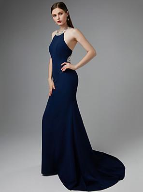 cheap Evening Dresses-Mermaid / Trumpet Elegant Beautiful Back Formal Evening Dress Halter Neck Sleeveless Sweep / Brush Train Jersey with Beading 2020