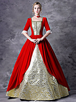cheap Historical & Vintage Costumes-Fairytale Victorian Gothic Lolita Rococo 18th Century Dress Outfits Party Costume Masquerade Women's Costume Red+Golden Vintage Cosplay Party Prom 3/4 Length Sleeve Ankle Length Ball Gown Plus Size