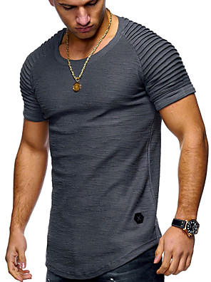 cheap Men's Tees-Men's T shirt Shirt Solid Colored Plus Size Short Sleeve Daily Tops Basic Round Neck White Army Green Black