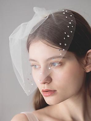 cheap Wedding Veils-One-tier European Style Wedding Veil Blusher Veils with Crystals / Rhinestones 30 cm Cotton / nylon with a hint of stretch / Birdcage