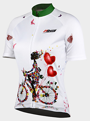 21Grams Women s Short Sleeve Cycling Jersey - White Floral   Botanical Bike  Jersey Top 5b19f744e