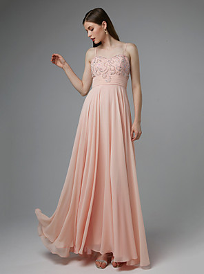 cheap Special Occasion Dresses-A-Line Beautiful Back Sparkle & Shine Formal Evening Black Tie Gala Dress Spaghetti Strap Sleeveless Floor Length Chiffon with Pleats Beading 2020