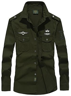 abordables Camisas de Hombre-Hombre Tallas Grandes Un Color Camisa Militar Diario Negro / Verde Ejército / Caqui / Azul Real / Manga Larga