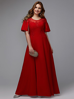 cheap Plus Size Dresses-A-Line Minimalist Formal Evening Dress Jewel Neck Short Sleeve Floor Length Stretch Satin with Appliques 2020