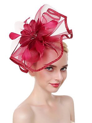 cheap Evening Dresses-Tulle / Feathers Kentucky Derby Hat / Fascinators / Headdress with Feather 1 Piece Party / Evening / Business / Ceremony / Wedding Headpiece
