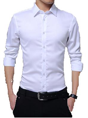 baratos Camisas Masculinas-Homens Camisa Social Sólido Blusas Negócio Básico Branco Preto Vermelho