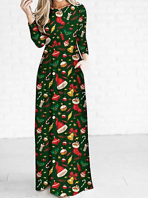abordables Vestidos de Mujer-Mujer Maxi Verde Ejército Rojo Vestido Elegante Navidad Fiesta Diario Vaina Geométrico Un Color S M Alta cintura / Sexy