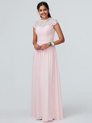 cheap Bridesmaid Dresses-A-Line Jewel Neck Floor Length Chiffon Bridesmaid Dress with Lace / Sparkle & Shine