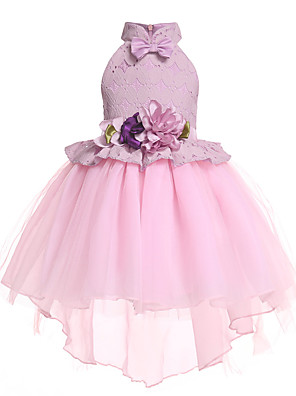 cheap Flower Girl Dresses-Princess Midi / Medium Length Pageant Flower Girl Dresses - Organza / Tulle Sleeveless Halter Neck with Petal / Lace / Solid