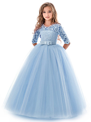 cheap Flower Girl Dresses-Kids Girls' Basic Gowns Wedding Party Solid Colored Short Sleeve Dress Blue