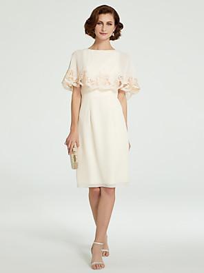 cheap Bridesmaid Dresses-Sheath / Column Mother of the Bride Dress Jewel Neck Knee Length Chiffon Half Sleeve with Lace 2020