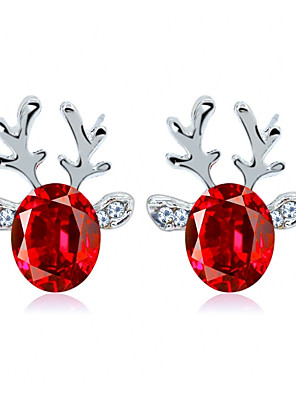 cheap Quartz Watches-Women's Crystal Earrings Solitaire Elk Ladies Simple European Fashion Earrings Jewelry Red / Blue / Light Pink For Christmas Daily 1 Pair