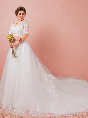 cheap Wedding Dresses-A-Line Wedding Dresses V Neck Watteau Train Lace Satin Tulle Half Sleeve Formal Plus Size with Lace Crystals Lace Insert 2020