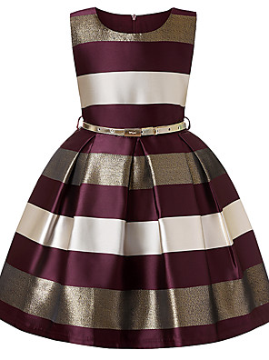 cheap Girls' Dresses-Kids Toddler Girls' Vintage Party Daily Striped Color Block Pleated Sleeveless Above Knee Dress Wine