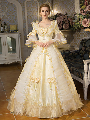 cheap Historical & Vintage Costumes-Princess Queen Elizabeth Victorian Rococo Baroque 18th Century Square Neck Dress Outfits Party Costume Masquerade Women's Lace Bow Floral Costume Golden Vintage Cosplay Party Prom 3/4 Length Sleeve