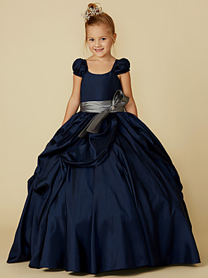 cheap Flower Girl Dresses-Ball Gown Floor Length Pageant Flower Girl Dresses - Taffeta Short Sleeve Scoop Neck with Belt / Bow(s)