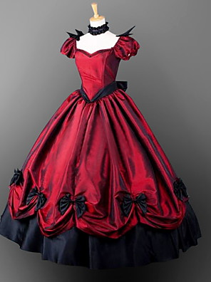 cheap Wedding Dresses-Gothic Lolita Gothic Victorian Dress Party Costume Masquerade Women's Girls' Satin Costume Emerald Green / Dusty Lavender / Dusty Rose Vintage Cosplay Short Sleeves Floor Length Ball Gown Plus Size