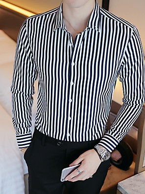 cheap Shirts-Men's Striped Shirt Basic Wedding Party Daily White / Black / Blue / Red / Navy Blue / Light Blue