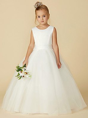 cheap Top Sellers-A-Line Floor Length Wedding / First Communion Flower Girl Dresses - Satin / Tulle Sleeveless Jewel Neck with Bow(s) / Buttons