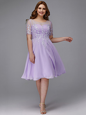 cheap Homecoming Dresses-Back To School A-Line Plus Size Purple Homecoming Cocktail Party Dress Illusion Neck Short Sleeve Knee Length Chiffon Lace with Appliques 2020 Hoco Dress