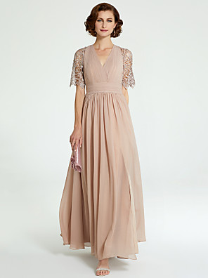 cheap Cocktail Dresses-A-Line Mother of the Bride Dress V Neck Floor Length Chiffon Lace Short Sleeve with Lace Pleats 2020