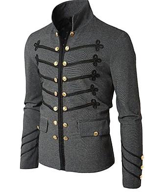 abordables Camisas de Hombre-Hombre Diario Básico Regular Abrigo, Un Color Escote Chino Manga Larga Poliéster Negro / Gris