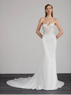 cheap Wedding Dresses-Mermaid / Trumpet Wedding Dresses Strapless Chapel Train Chiffon Lace Sleeveless with Lace 2020