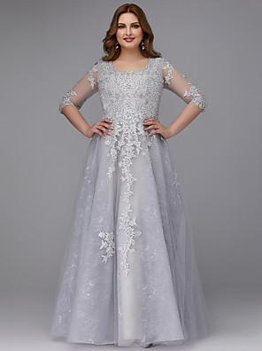 cheap Prom Dresses-A-Line Elegant Grey Prom Formal Evening Dress Jewel Neck Half Sleeve Floor Length Lace Tulle with Appliques 2020