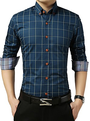 cheap Shirts-Men's Check Shirt Basic Wedding Party Daily Wine / White / Royal Blue / Light gray / Navy Blue / Light Blue