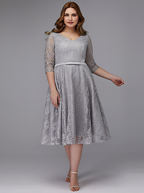 cheap Cocktail Dresses-A-Line Plus Size Grey Cocktail Party Prom Dress V Neck 3/4 Length Sleeve Tea Length Lace with Pleats Lace Insert 2020