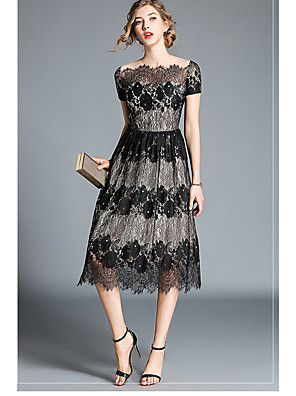 cheap Cocktail Dresses-A-Line Floral Black Holiday Wedding Guest Dress Off Shoulder Short Sleeve Tea Length Lace with Lace Insert Pattern / Print 2020