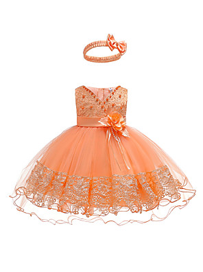 cheap Girls' Dresses-Baby Girls' Active / Basic Party / Birthday Solid Colored Lace Sleeveless Asymmetrical Cotton Dress Orange