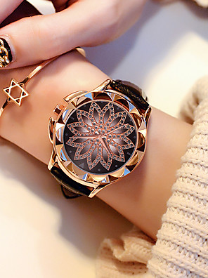 9f940d9623b Mulheres Relógio de Pulso Quartzo Criativo Novo Design Relógio Casual PU  Banda Analógico senhoras Flor Fashion