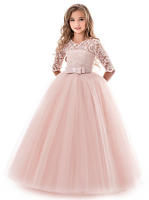 cheap Flower Girl Dresses-Princess Long Length Wedding / Party / Pageant Flower Girl Dresses - Lace / Tulle Half Sleeve Jewel Neck with Lace / Belt