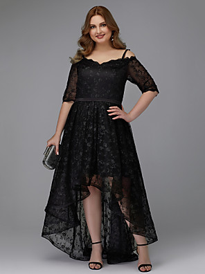 cheap Prom Dresses-A-Line Plus Size Black Cocktail Party Prom Dress Spaghetti Strap Half Sleeve Asymmetrical Lace with Pleats Lace Insert 2020