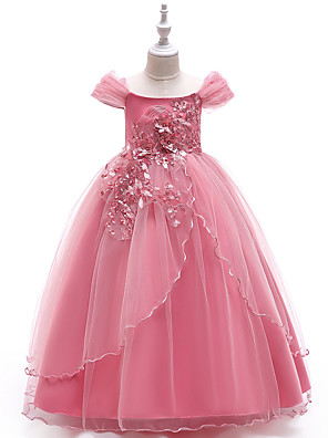 cheap Flower Girl Dresses-Princess Floor Length Party / Pageant Flower Girl Dresses - Polyester Short Sleeve Off Shoulder with Lace / Embroidery