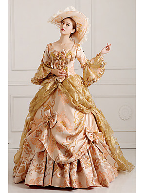 cheap Historical & Vintage Costumes-Rococo Victorian 18th Century Dress Party Costume Masquerade Women's Lace Cotton Costume Golden Vintage Cosplay Party Prom Long Sleeve Floor Length Long Length Ball Gown / Hat / Petticoat / Floral