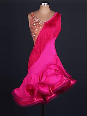 cheap Wedding Dresses-Latin Dance Dress Tassel Crystals / Rhinestones Women's Training Performance Sleeveless High Tulle Spandex